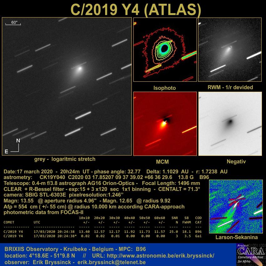 Comet C/2019 Y4 (ATLAS) on 17 march 2020